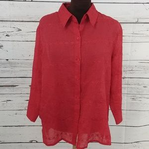 Alfred Dunner Red Eyelet Top